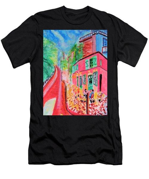 Montmartre Cafe In Paris Men's T-Shirt (Athletic Fit)