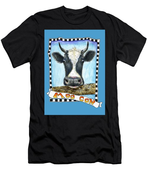 Men's T-Shirt (Athletic Fit) featuring the drawing Moo Cow In Blue by Retta Stephenson