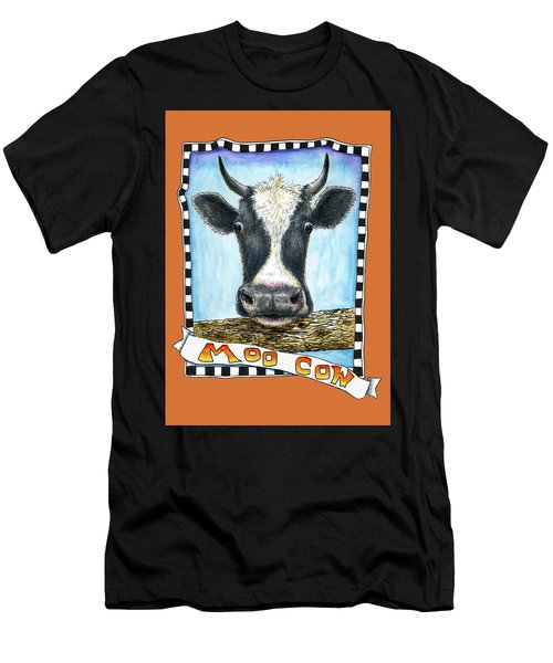 Men's T-Shirt (Athletic Fit) featuring the painting Moo Cow In Orange by Retta Stephenson