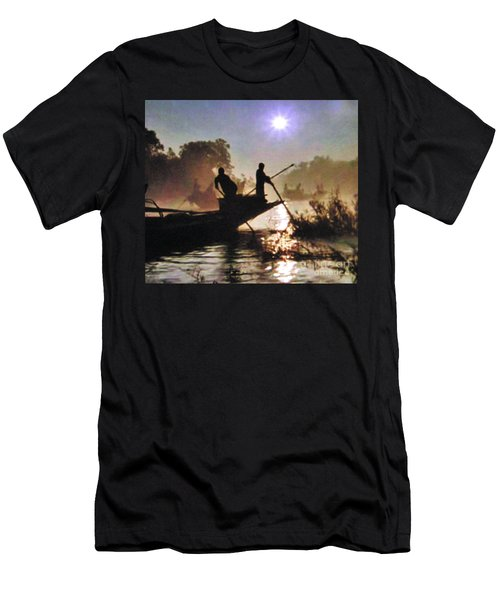 Moody River Silhouettes At Sunset Men's T-Shirt (Athletic Fit)