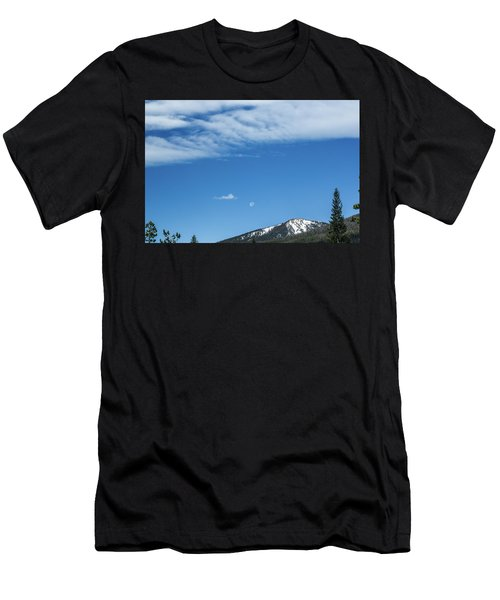 Men's T-Shirt (Athletic Fit) featuring the photograph Moon And Mountain Peak by Tyson Kinnison