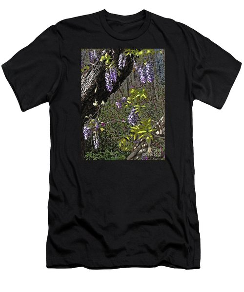 Men's T-Shirt (Slim Fit) featuring the photograph Moon Glow Wisteria by Patricia L Davidson