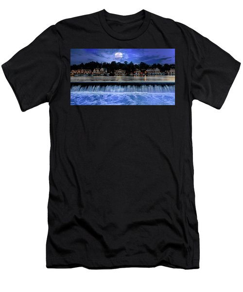 Men's T-Shirt (Athletic Fit) featuring the photograph Moon Light - Boathouse Row Philadelphia by Bill Cannon