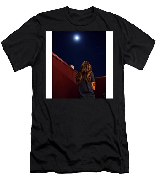 #moon #nightsky #sky #red #hair Men's T-Shirt (Athletic Fit)
