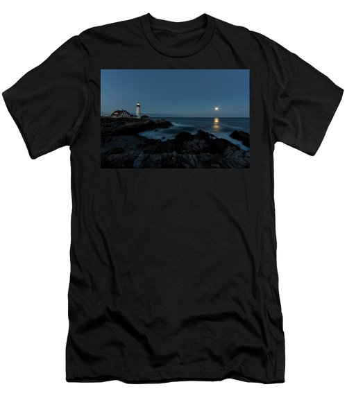 Moon Rise At Portland Headlight Men's T-Shirt (Athletic Fit)