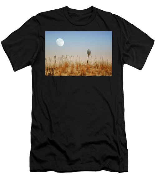 Moon Rise Snowy Owl Men's T-Shirt (Athletic Fit)