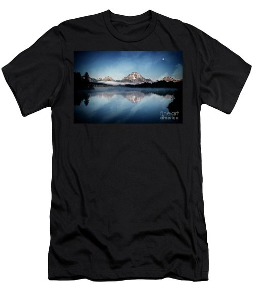 Men's T-Shirt (Athletic Fit) featuring the photograph Moonset by Scott Kemper