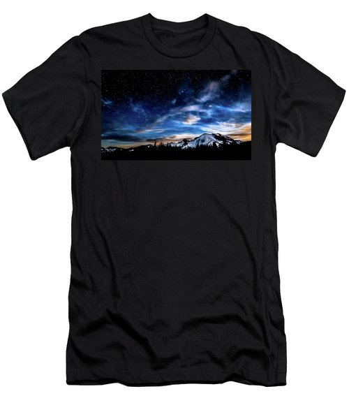 Moon Setting Behind Mt Rainier  Men's T-Shirt (Athletic Fit)