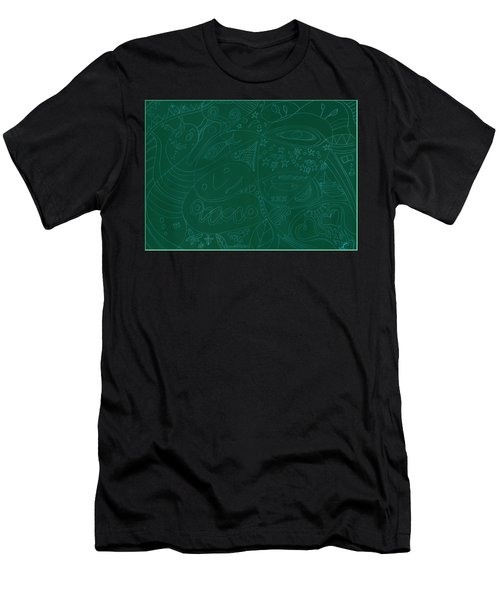 Moonfish Drawing Negative Green Chalk Men's T-Shirt (Athletic Fit)