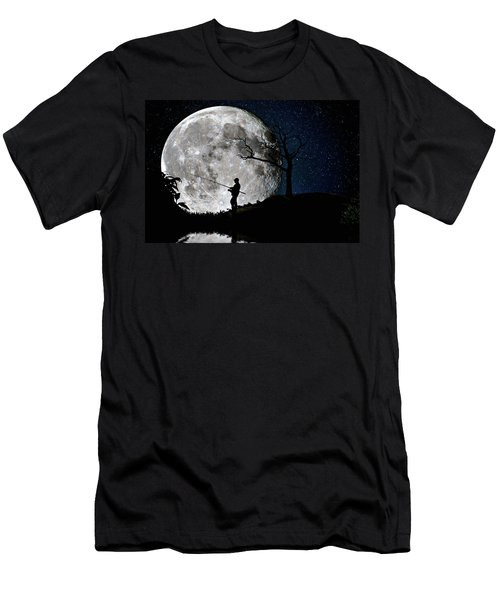 Moonlight Fishing Under The Supermoon At Night Men's T-Shirt (Athletic Fit)