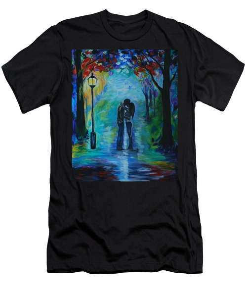 Men's T-Shirt (Slim Fit) featuring the painting Moonlight Kiss by Leslie Allen