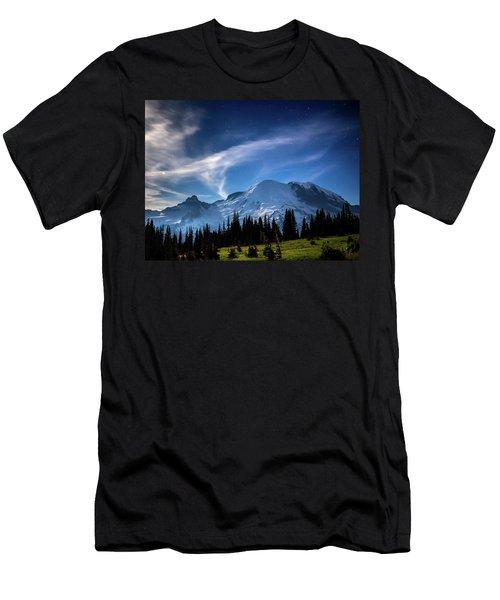Moonlight On Mt Rainier Men's T-Shirt (Athletic Fit)