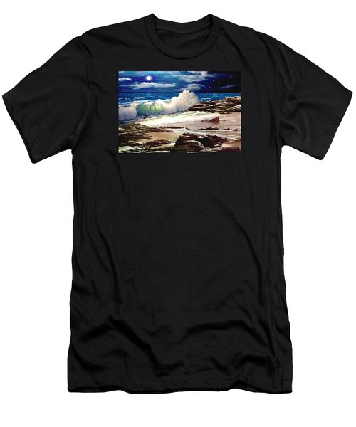 Moonlight On The Beach Men's T-Shirt (Slim Fit) by Ron Chambers