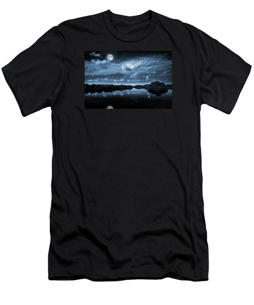 Men's T-Shirt (Slim Fit) featuring the photograph Moonlight Over A Lake by Jaroslaw Grudzinski