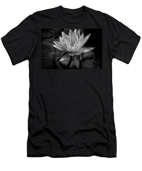 Moonlit Water Lily Bw Men's T-Shirt (Athletic Fit)