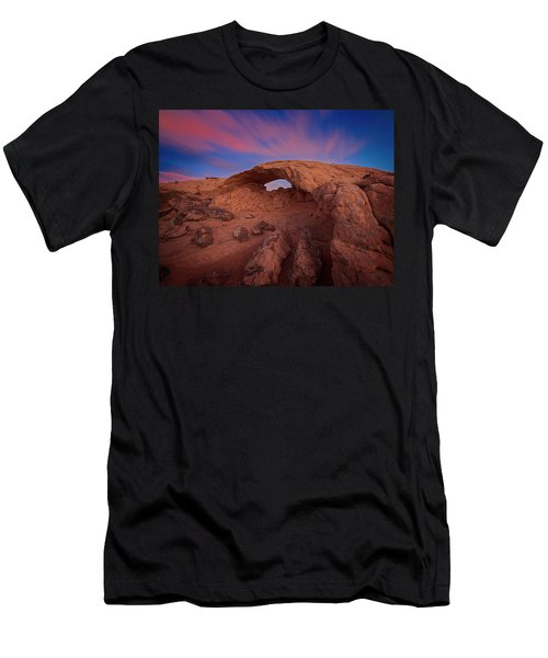 Men's T-Shirt (Athletic Fit) featuring the photograph Moonrise Arch by Edgars Erglis