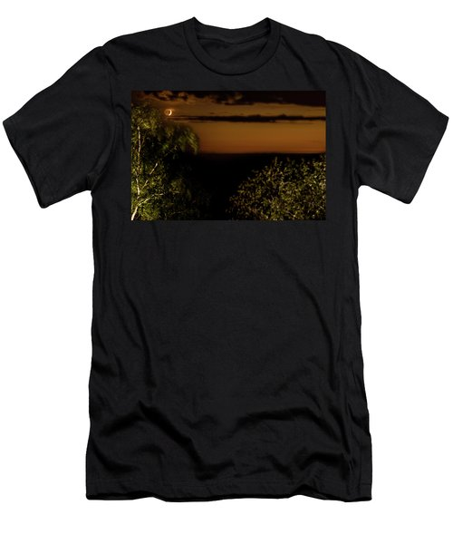 Men's T-Shirt (Athletic Fit) featuring the photograph Moonset At Bay Harbor by Onyonet  Photo Studios