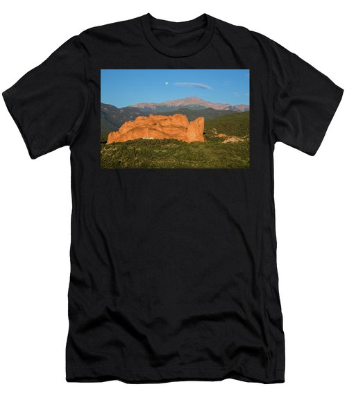 Moonset Over The Kissing Camels And Pikes Peak, Garden Of The Go Men's T-Shirt (Athletic Fit)