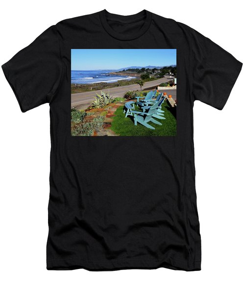 Men's T-Shirt (Slim Fit) featuring the photograph Moonstone Beach Seat With A View by Barbara Snyder
