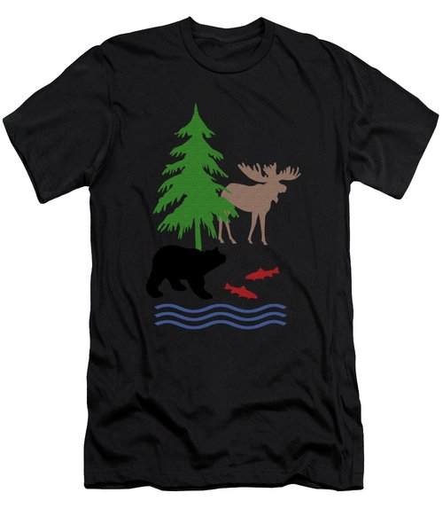 Moose And Bear Pattern Art Men's T-Shirt (Athletic Fit)