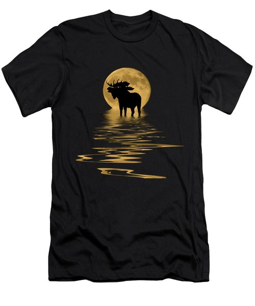 Moose In The Moonlight Men's T-Shirt (Slim Fit) by Shane Bechler