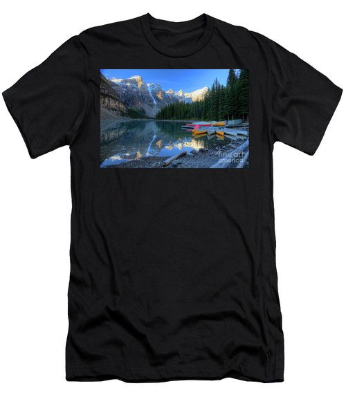 Moraine Lake Sunrise Blue Skies Canoes Men's T-Shirt (Athletic Fit)