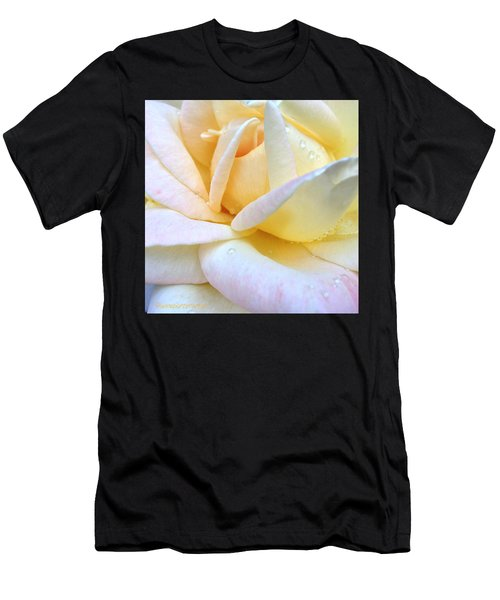 Morning Dew On A Pale Yellow Rose Men's T-Shirt (Athletic Fit)