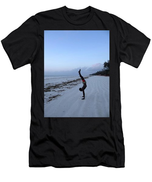 Morning Exercise On The Beach Men's T-Shirt (Athletic Fit)