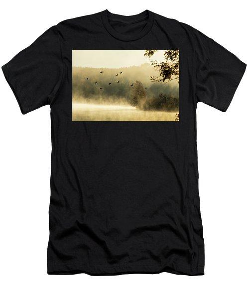 Morning Fog On Haley Pond In Rangeley Maine Men's T-Shirt (Athletic Fit)
