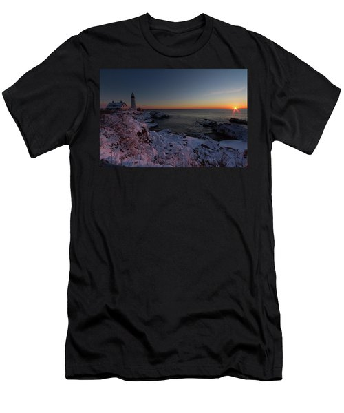 Morning Glow At Portland Headlight Men's T-Shirt (Athletic Fit)
