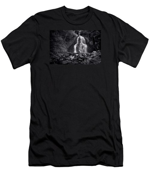 Men's T-Shirt (Slim Fit) featuring the photograph Moss Glen Falls - Monochrome by Stephen Stookey