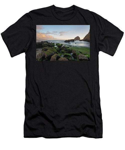 Mossy Rocks At The Beach Men's T-Shirt (Athletic Fit)