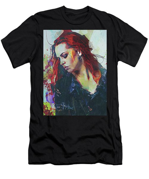 Mostly- Abstract Portrait Men's T-Shirt (Slim Fit) by Galen Valle