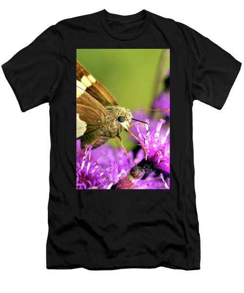 Moth On Purple Flower Men's T-Shirt (Athletic Fit)