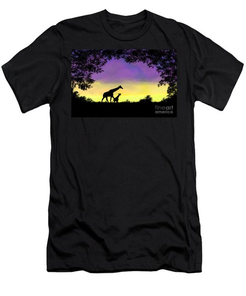 Mother And Baby Giraffe At Sunset Men's T-Shirt (Athletic Fit)