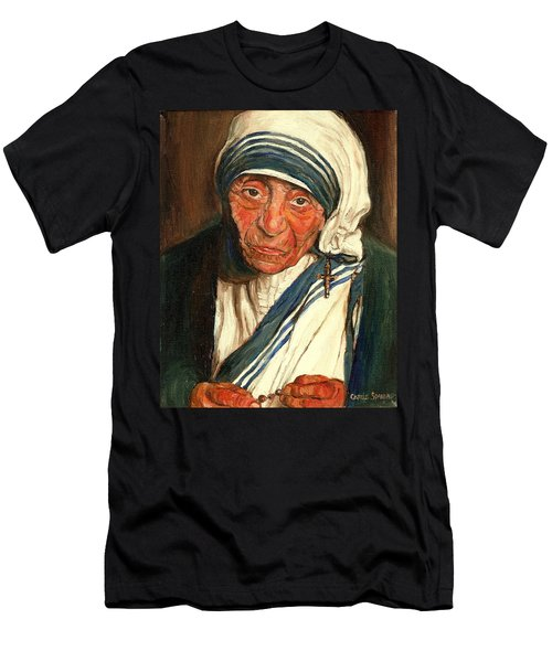 Men's T-Shirt (Slim Fit) featuring the painting Mother Teresa  by Carole Spandau