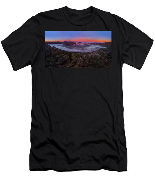 Men's T-Shirt (Athletic Fit) featuring the photograph Mount Bromo Misty Sunrise by Pradeep Raja Prints