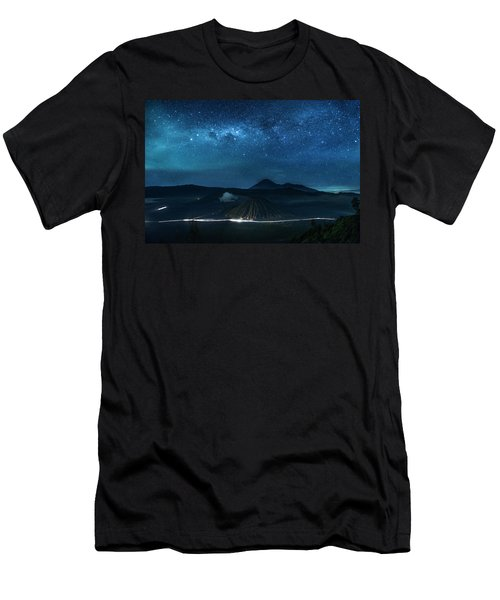 Men's T-Shirt (Athletic Fit) featuring the photograph Mount Bromo Resting Under Million Stars by Pradeep Raja Prints