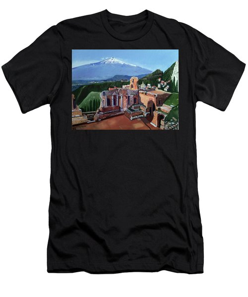Mount Etna And Greek Theater In Taormina Sicily Men's T-Shirt (Athletic Fit)