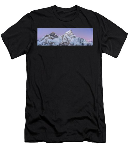 Mount Everest Lhotse And Ama Dablam Just After Sunset Panorama Men's T-Shirt (Athletic Fit)