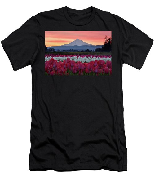 Mount Hood Sunrise With Tulips Men's T-Shirt (Athletic Fit)