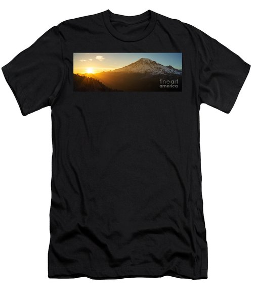 Mount Rainier Evening Light Rays Men's T-Shirt (Slim Fit) by Mike Reid