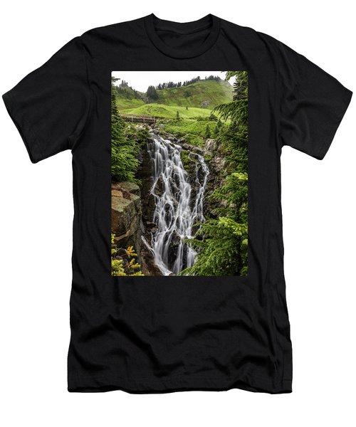 Men's T-Shirt (Athletic Fit) featuring the photograph Mount Rainier's Myrtle Falls by Pierre Leclerc Photography