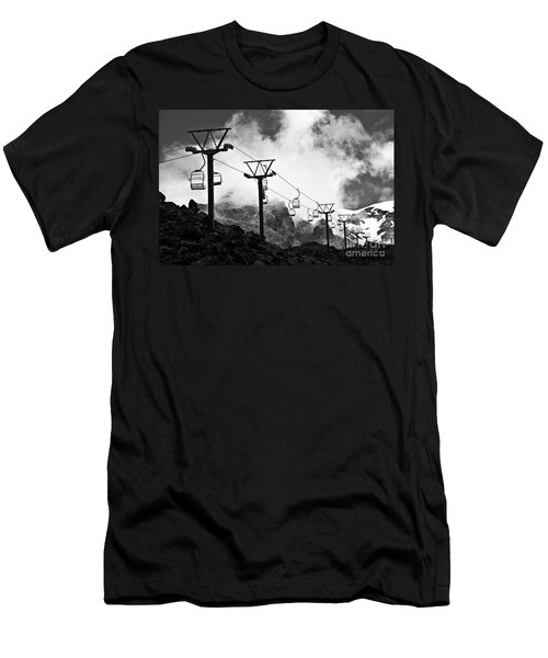 Men's T-Shirt (Slim Fit) featuring the photograph Mountain Cable Road Waiting For Snow by Yurix Sardinelly