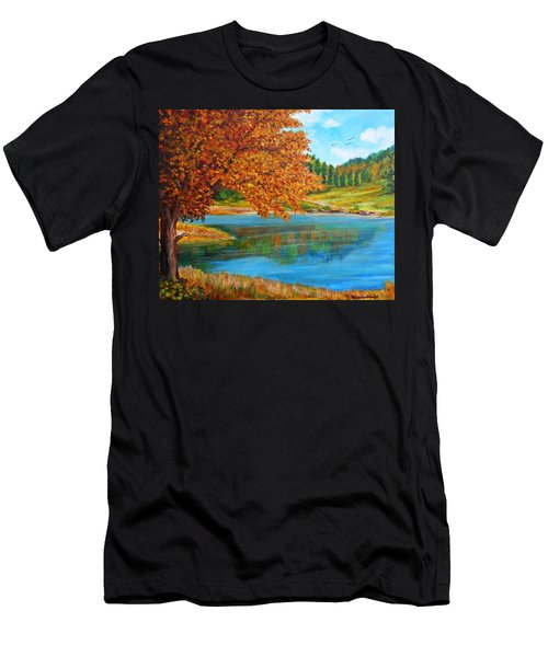 Mountain Lake In Greece Men's T-Shirt (Athletic Fit)