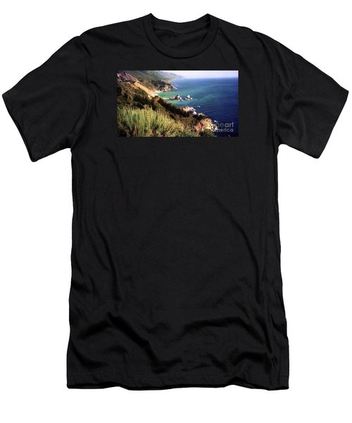 Mountain On Calif Pacific Ocean Men's T-Shirt (Slim Fit) by Ted Pollard