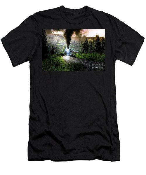Men's T-Shirt (Slim Fit) featuring the photograph Mountain Railway - Morning Whistle by Robert Frederick