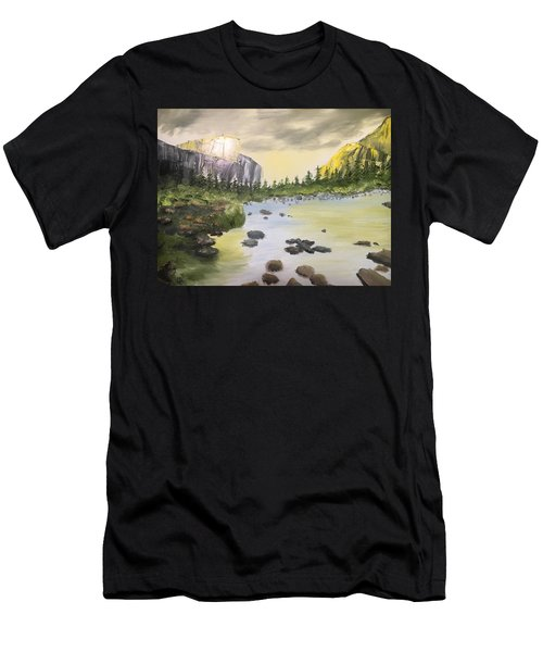 Mountains And Stream Men's T-Shirt (Athletic Fit)