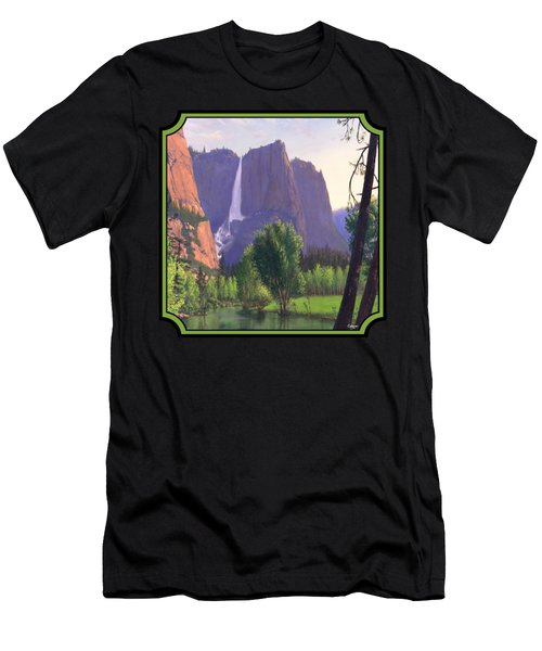 Mountains Waterfall Stream Western Landscape - Square Format Men's T-Shirt (Athletic Fit)