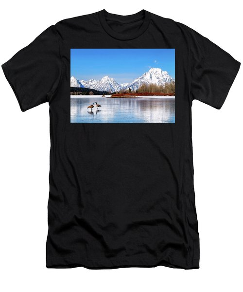 Mt Moran With Geese Men's T-Shirt (Athletic Fit)